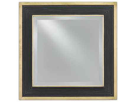 Currey & Company Loren Square Polished Brass and Caviar Black Wall Mirror
