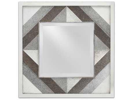 Currey & Company Cordova 24'' Square Polished Nickel and Gray Wall Mirror