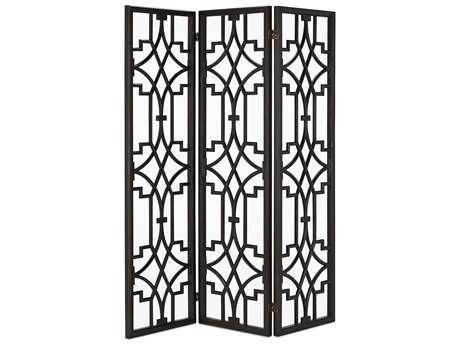 Currey & Company Nador Dark Mahogany Folding Screen