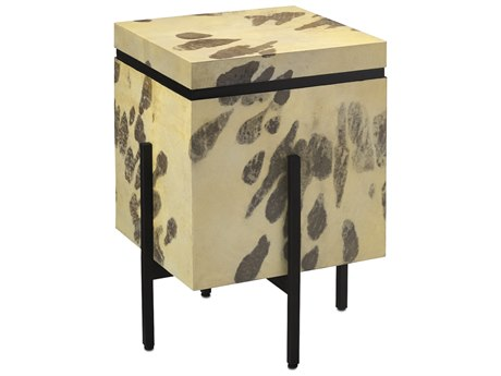 Currey and Company Karlson 17.5'' Square Natural Vellum / Caviar Black / Matte Black Metal Side Table