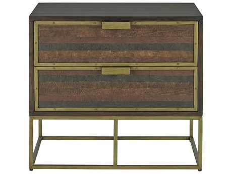 Currey & Company Holden Antique Brass Nightstand