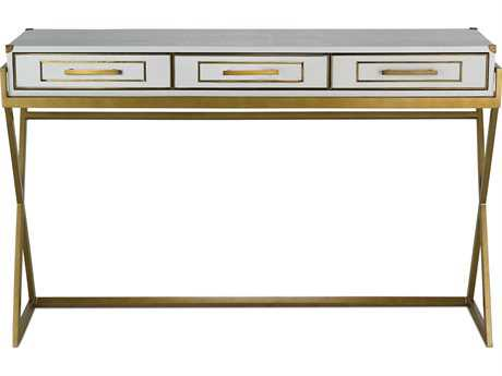 Currey & Company Regency Gold and White Console Table