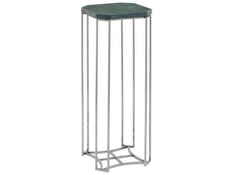 Currey & Company Seren 8.5'' Square Polished Nickel and Green Drinks Table