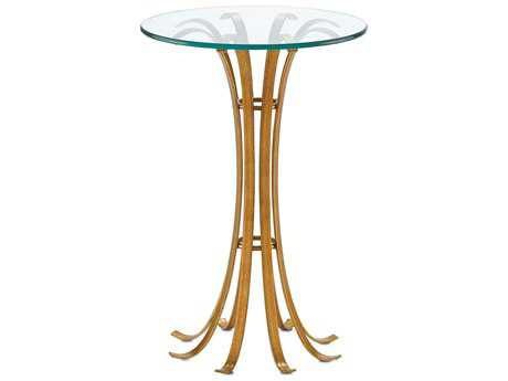 Currey & Company Val 16'' Round Painted Antique Gold Accent Table