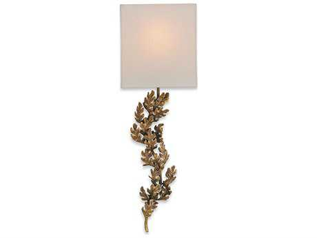 Currey & Company Oakington Bronze 11'' Wide Wall Sconce with Bone Linen Shade