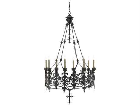 Currey & Company The Shannon Koszyk Collection Black Eight-Light 29.5'' Wide Grand Chandelier
