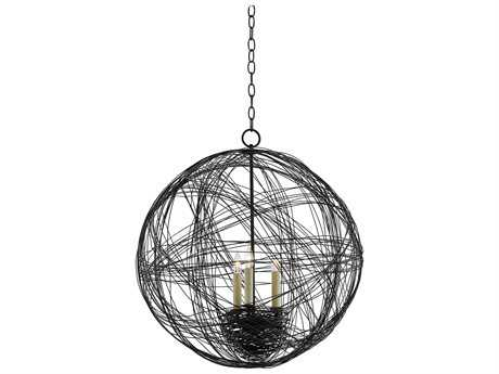 Currey & Company Nido Orb Blacksmith Three-Light 24'' Wide Mini-Chandelier