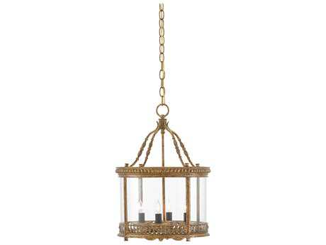 Currey & Company Grayson French Gold Leaf Four-Light 14'' Wide Convertible Mini-Chandelier/Semi-Flush Mount Light