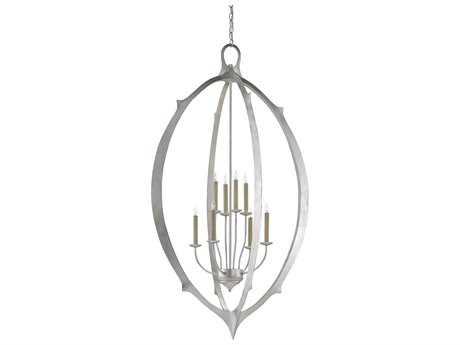 Currey & Company Meditation Contemporary Silver Leaf Eight-Light 33'' Wide Grand Chandelier