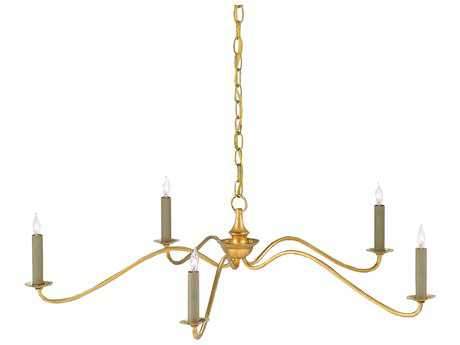 Currey & Company Valais Contemporary Gold Leaf Five-Light 36'' Wide Chandelier