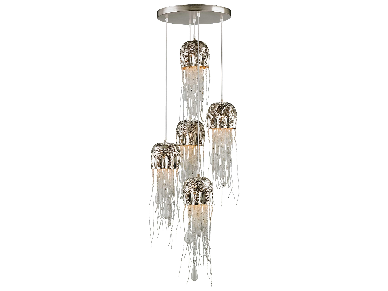 Currey company medusa multi nickel clear five light 19 for Medusa light fixture