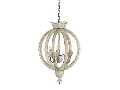 Currey & Company Dauphin White Rust Three-Light 21'' Wide Mini-Chandelier