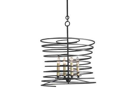 Currey & Company Nebula French Black Four-Light 26'' Wide Chandelier