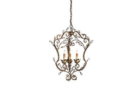 Currey & Company Melody Gold Three-Light 15'' Wide Mini-Chandelier