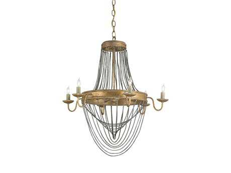 Currey & Company Lucien Gold Six-Light 25'' Wide Chandelier