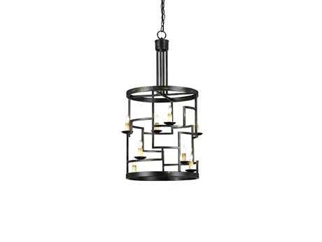 Currey & Company Spyro French Black Eight-Light 17'' Wide Mini-Chandelier