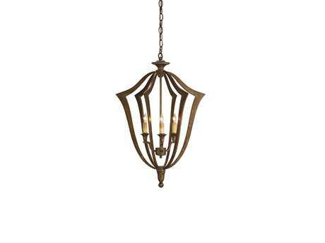 Currey & Company Protocol Bronze Three-Light 18'' Wide Mini-Chandelier