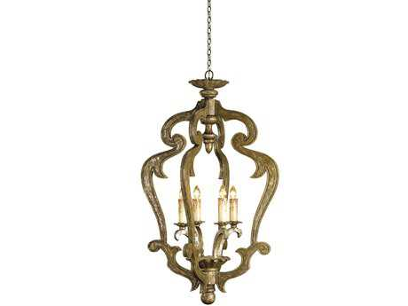 Currey & Company Chancellor Distressed Silver Four-Light Grand Chandelier