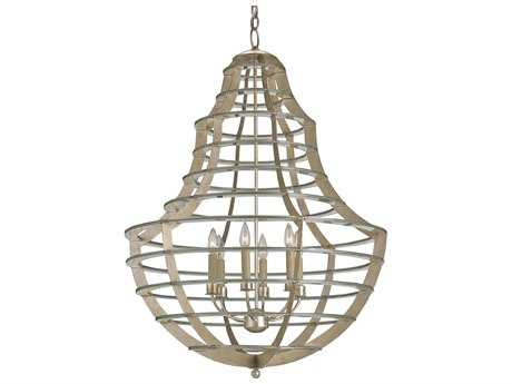 Currey & Company Everest Contemporary Silver Leaf Six-Light 28'' Wide Chandelier
