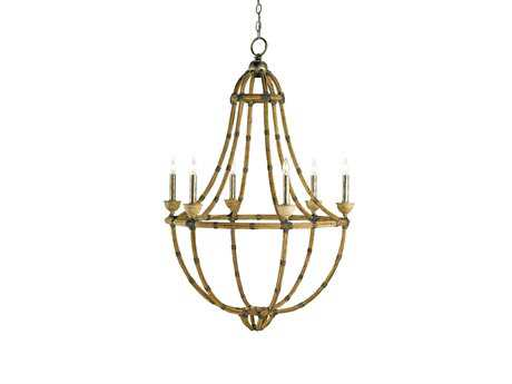 Currey & Company Palm Beach Pyrite Bronze Six-Light 30'' Wide Chandelier