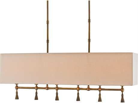 Currey & Company Churchill Rectangular Antique Brass Six-Light 44'' Wide Island Light