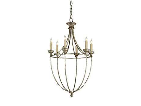 Currey & Company Celeste Antique Silver Six-Light 19'' Wide Mini-Chandelier