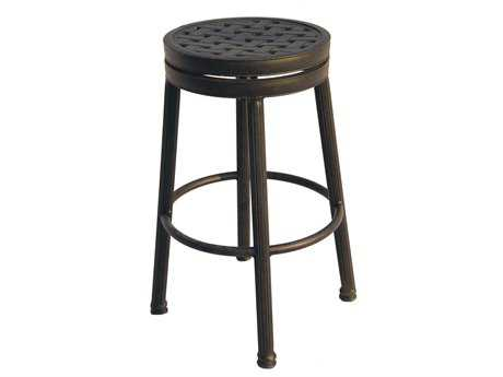 Darlee Outdoor Living Standard Backless Cast Aluminum Antique Bronze Round Swivel Bar Stool PatioLiving