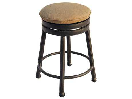 Darlee Outdoor Living Quick Ship Backless Cast Aluminum Antique Bronze Round Swivel Counter Height Stool