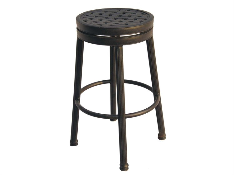Darlee Outdoor Living Standard Backless Cast Aluminum Antique Bronze Round Swivel Bar Stool