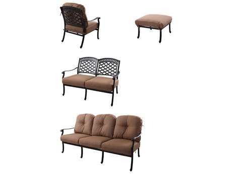 Darlee Outdoor Living Standard Sedona Cast Aluminum Deep Seating Group 4 PC Set PatioLiving