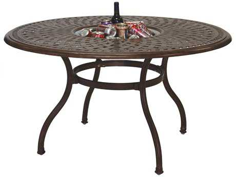 Darlee Outdoor Living Series 60 Cast Aluminum 52 Round Dining Table with Ice Bucket