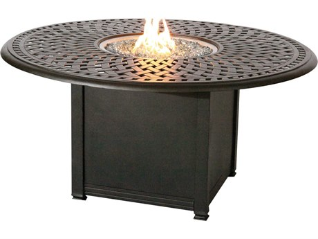 Darlee Outdoor Living Series 60 Cast Aluminum 60 Round Propane Fire Pit Dining Table PatioLiving