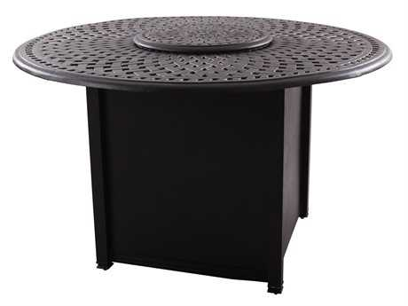 Darlee Outdoor Living Series 60 Cast Aluminum 60 Round Propane Fire Pit Dining Table