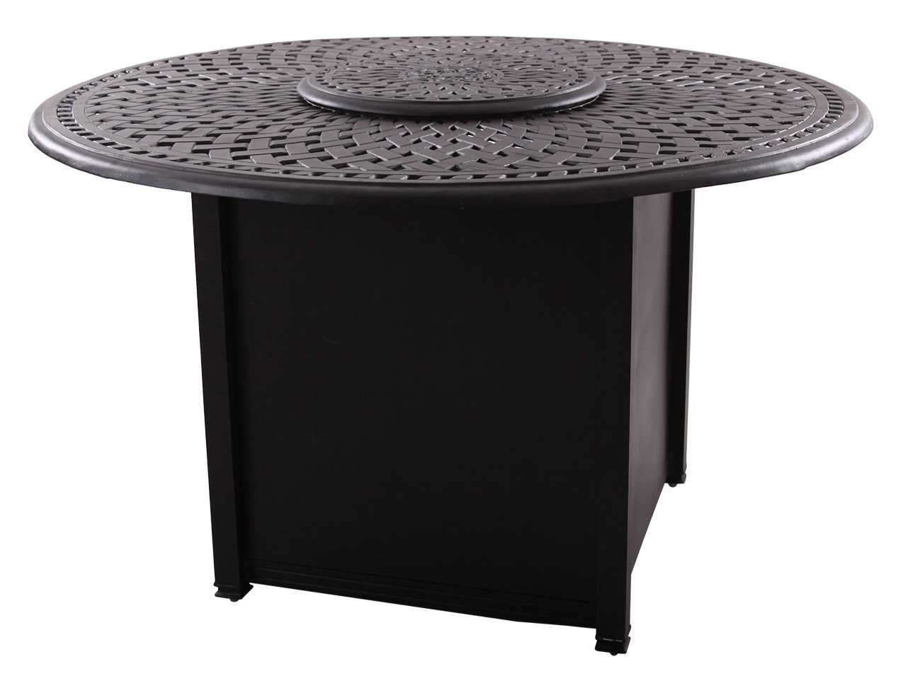 darlee outdoor living series 60 cast aluminum 60 round propane fire pit dining table 201060 gd. Black Bedroom Furniture Sets. Home Design Ideas