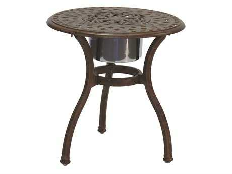 Darlee Outdoor Living Quick Ship Series 60 Cast Aluminum 24 Round End Table with Ice Bucket