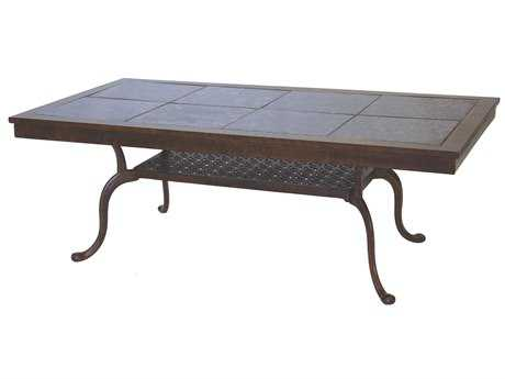Darlee Outdoor Living Granite Top Cast Aluminum 52 x 28 Rectangular Coffee Table PatioLiving