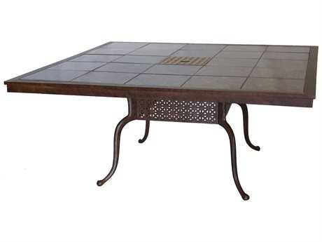 Darlee Outdoor Living Granite Top with Cast Aluminum 64'' Wide Square Dining Table PatioLiving