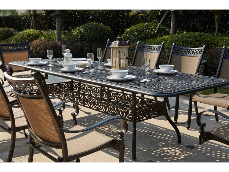 Darlee Outdoor Living Standard Mountain View Cast Aluminum 11- Piece Dining  Set 92 x 42 / 120 x 42 Rectangular Extension Dining Table in Antique ...