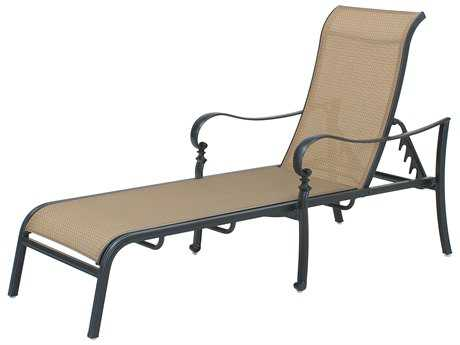 Darlee Outdoor Living Standard Mountain View Cast Aluminum Sling Chaise Lounge Extra Long in Antique Bronze