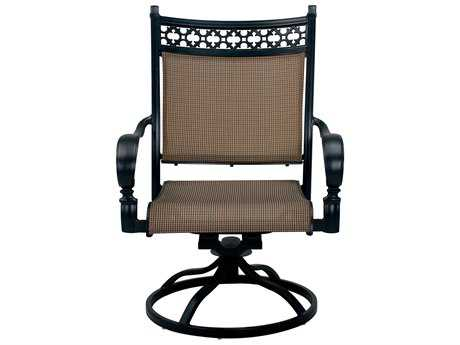 Darlee Outdoor Living Standard Mountain View Cast Aluminum Sling Swivel Rocker Chair in Antique Bronze
