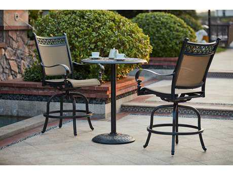 Darlee Outdoor Living Standard Mountain View Cast Aluminum 3-Piece Counter Height Bar Set with 30 Inch Round Counter Height Pedestal Bar Table in Antique Bronze
