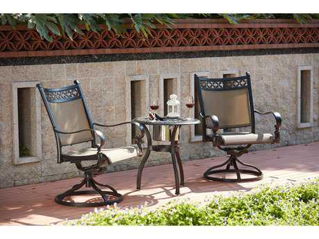 Darlee Outdoor Living Standard Mountain View Cast Aluminum 3-Piece Set with 24 Inch Round End Table / Ice Bucket Insert in Antique Bronze