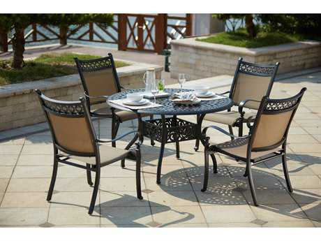 Darlee Outdoor Living Standard Mountain View Cast Aluminum 5- Piece Dining Set with 48 Inch Dining Table in Antique Bronze