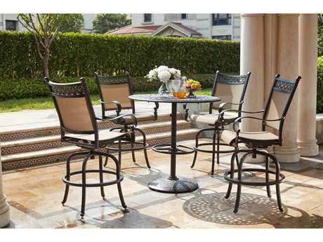 Darlee Outdoor Living Standard Mountain View Cast Aluminum 5-Piece Pedestal Bar Set with 42 Inch Round Pedestal Bar Table in Antique Bronze