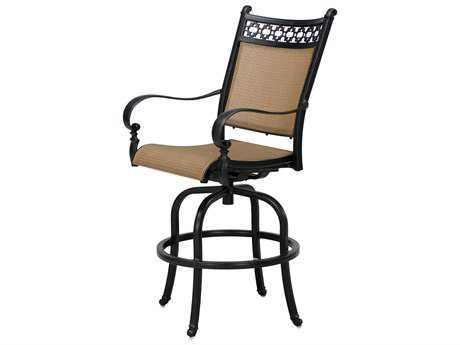 Darlee Outdoor Living Standard Mountain View Cast Aluminum Sling Swivel Bar Stool in Antique Bronze