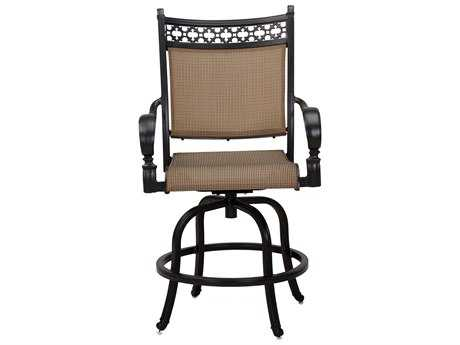Darlee Outdoor Living Standard Mountain View Cast Aluminum Sling Counter Height Swivel Bar Stool in Antique Bronze