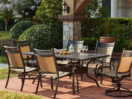 Darlee Outdoor Living Standard Mountain View Cast Aluminum 7- Piece Dining Set 72 x 42 Rectangular in Antique Bronze