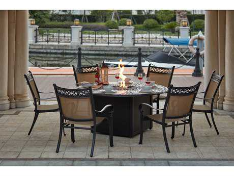 Darlee Outdoor Living Standard Mountain View Cast Aluminum 7- Piece Dining Propane Fire Pit Dining Set with 60 Inch Round in Antique Bronze