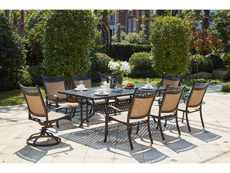 Darlee Outdoor Living Standard Mountain View Cast Aluminum 9- Piece Dining Set with 92 x 42 Rectangular in Antique Bronze