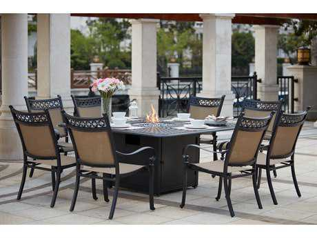 Darlee Outdoor Living Standard Mountain View Cast Aluminum 9- Piece Propane Fire Pit Dining Set with 64 Inch Square in Antique Bronze